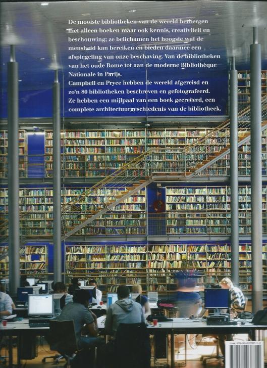 Achterzijde stofomslag van het boek door James W.P.Campbell en Will Pryce met interieurfoto van de bibliotheek der Technische Universiteit in Delft