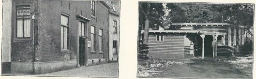 Links eerste huisvesting van de openbare bibliotheek Amersfoort en rechts het eerste filiaal. Uit: Gedenkboek C.V. 1933