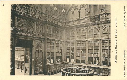 Oude ansichtkaart van Shakespeare Memorial Library, 2013 meeverhuisd naar de nieuwe huisvesting in Birmingham