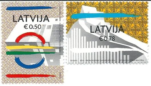 Twee postzegels in 2014 uitgegeven door de posterijen van Letland bij gelegenheid van de opening der nieuwe nationale Bibliotheek in Riga.