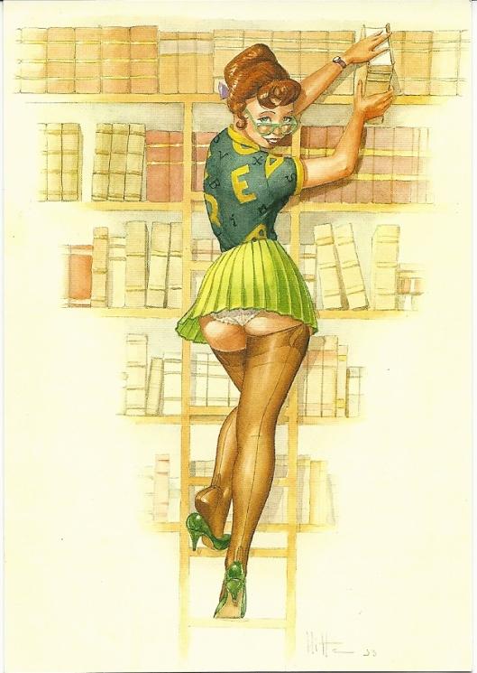 De bibliothecaresse. Naar een origineel ontwerp van Patrick Hitte (Pin-up nr.3)