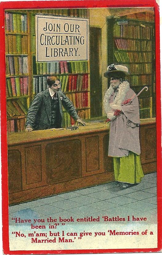 Cartoonkaart van dame in Engelse uitleenbibliotheek, circa 1900 (Bamforth & Co. ltd)