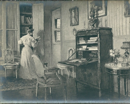 Vrouw in salonbibliotheek, 1906. Ed. Gelbay