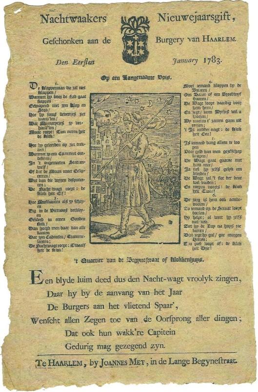 In het nieuwe NHA Uitgelicht is een Nieuwjaarsgift 1783 van de Haarlemse Nachtwakers uit het archief opgenomen.