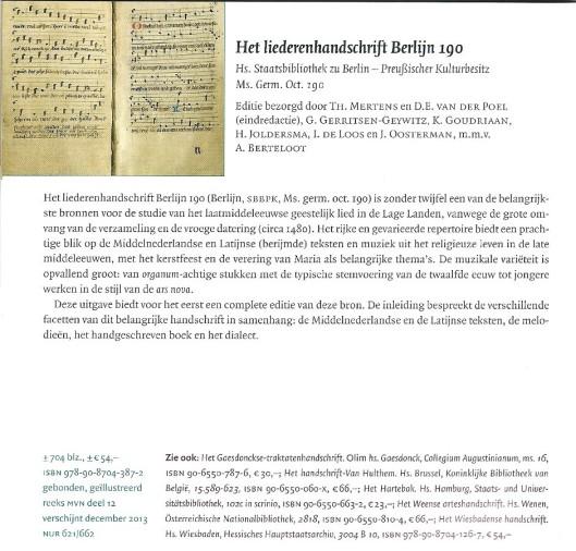 Het befaamde Liederenhandschrift Berlijn 190 uitgegeven door Verloren in Hilversum.