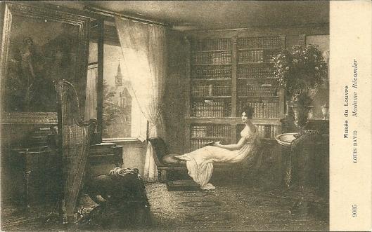 Madame Récamier in salonboekerij (schilderij van Louis David in het Louvre)