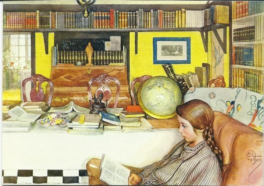 De leeskamer; aquarel van Carl Larsson (1853-1919)