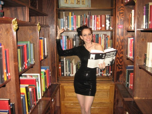 Standuplibrarian in castle library