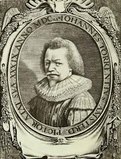 Gegraveerd portret van Johannes Torrentius uit 1648 van de schilder op 39-jarige leeftijd.