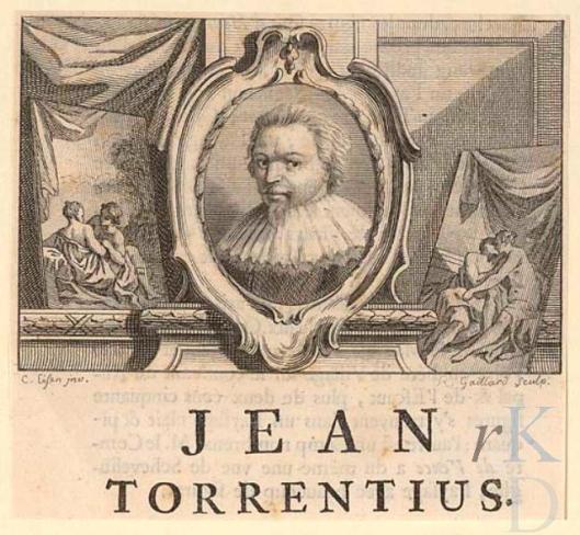 Gravure van René Gaillard uit omstreeks 1752 met ortret van Joh. Torrentius. Gepubliceerd in Franstalig boek van Jean-Baptiste Deschamps over Vlaamse, Duitse en Hollandse kunstenaars uit 1752