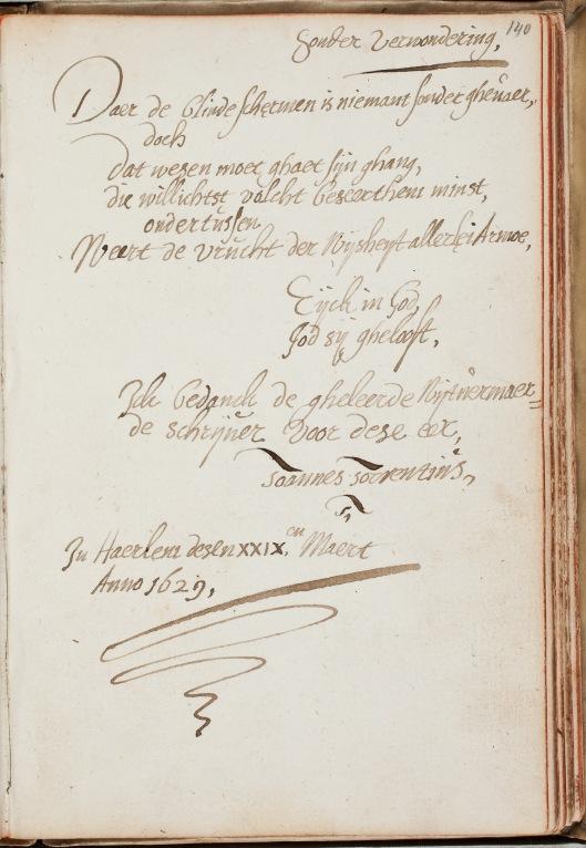 Albuminscriptie uit 1629 van Torrentius voor Petrus Scriverius (1576-1660)
