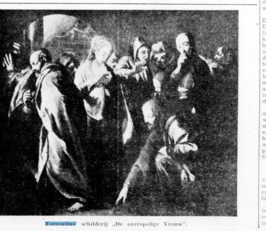 Afbeelding van het schilderij 'De overspelige vrouw' , in 1939 toegeschreven aan Torrentius