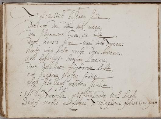 Vers van Johannes Torrentius geschreven in het album voor Gerard Thibault (circa 1574-1627). In bezit van de Koninklijke Bibliotheek, Den Haag.