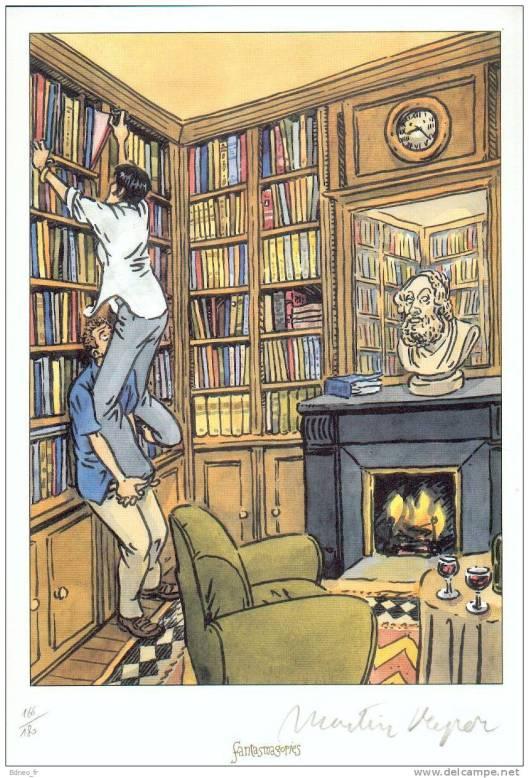 Illustratie op exlibris van Martin Veyran