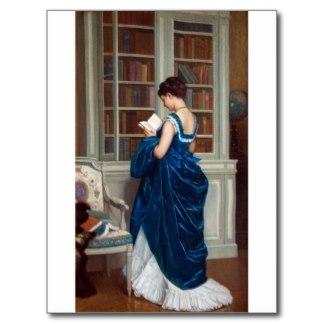 Vrouw in blauw in privébibliotheek (Zazzle)