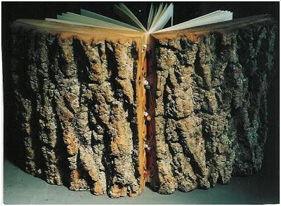 Boeken met een omslag van hout worden gemaakt door de Amerikaanse beeldhouwster, schrijfster en fotografe Barbara Yates