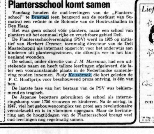 Reünie van oud-leerlingen van de Plantersschool. Uit: De Telegraaf van 28 oktober 1978