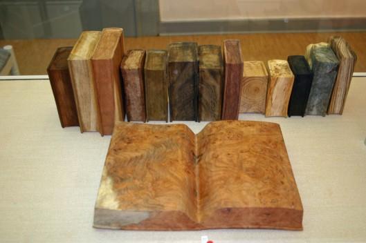 De kunstenaar Ivan Illner heeft zich gespecialiseerd in boeken gemaakt van diverse houtsoorten. Hier een selectie van zijn werk in het Duitse kasteel Clemenswerth