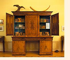 'Holzbibliothek' uit 1795 van benedictijn Candidus Huber , tegenwoordig in het natuurmuseum Regensburg