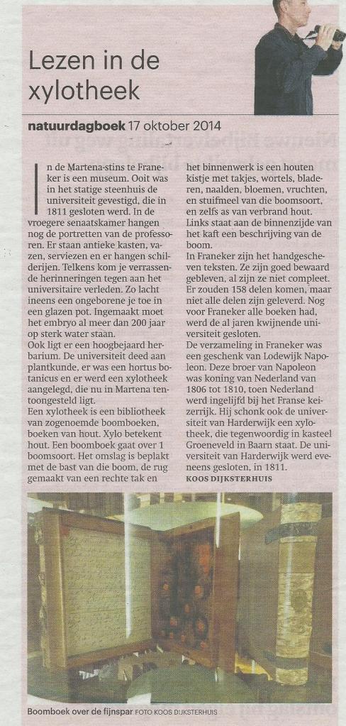 'Lezen in de xylotheek' Uit: Trouw, 17 oktober 2014