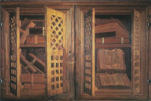 Boeken van hout uit de bibliotheek van Ancona