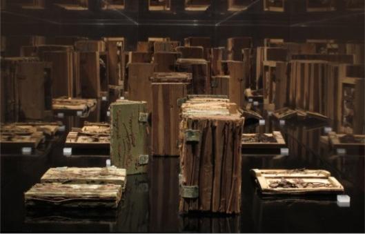 Vitrine met houtbibliotheek in natuurmuseum Thurgau, Frauenfeld, Zwitserland