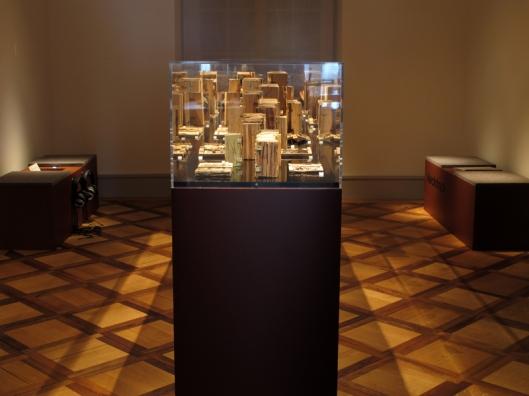 Vitrine met 'houtboeken' van pater Candid Huber in het natuurmuseum Thurgau te Frauenfeld