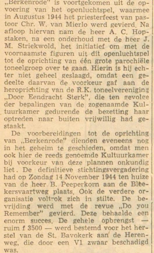 Tweede lustrum toneelgroep Berkenrode. Uit: Haarlems Dagblad van 5 november 1954
