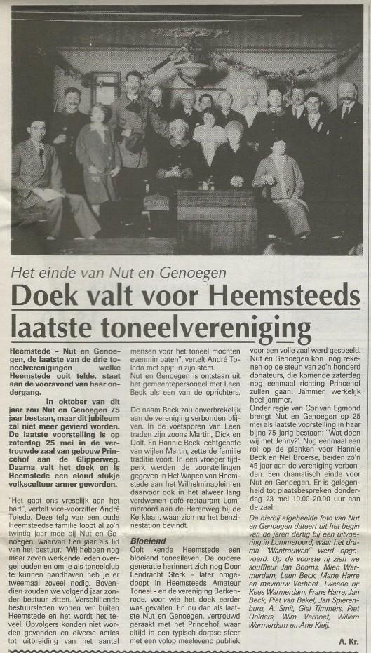 Oktober 1996 viel het doek voor 'Nut en Genoegen' Uit: de Heemsteder van 22 mei 1996