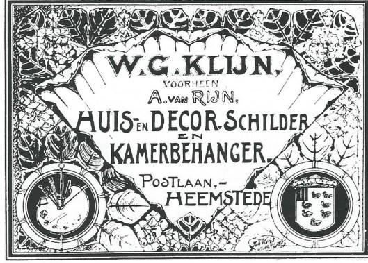 Advertentie van W.G.Klijn sr. als huis- en dorschilder en kamerbehanger in Heemstede