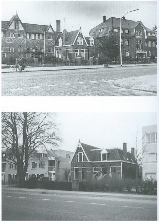 Op de bovenste foto links de in 1904 gebouwde Sint Jozefschool aan de Herenweg tegenover de Oude Posthuisstraat, was de eerste katholieke jongensschool in Heemstede. Rechts daarvan de woning van het eerste schoolhoofd de heer Pronk. Daarnaast het door Jac.Nijman gebouwde Broederhuis van de Broeders van J.B.de la Salle. Enkel het huis van van het schoolhoofd hield door de jaren heen stand en staat nu temidden van moderne gebouwen (zie onderste foto)