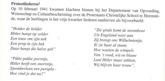 Uit: Heemstede 1940-1945; een gemeente in bezettingstijd, p. 112 + J.C.H.de Pater, Het schoolverzet, 's-Gravenhage, 1969.