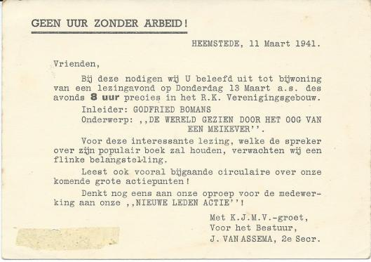 Uitnodiging van K.J.M.V. St. Gerardus Majella voor een lezing op 11 maart 1941 van Godfried Bomans in het R.K.Verenigingsgebouw