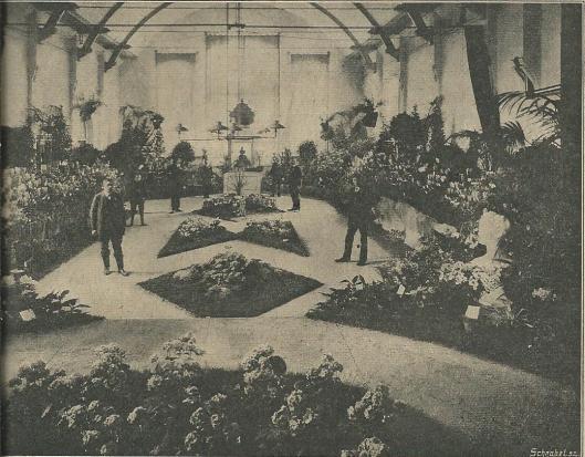 Nog een interieurfoto van de Flora-bloemententoonstelling te Heemstede in het r.k.Verenigingsgebouw. (Zondagblad Opr.Haarl. Cour., 12 maart 1911