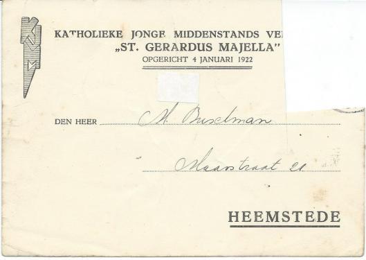 Briefkaart van de Katholieke Jonge Middenstands Vereniging St. Gerardus Majella, opgericht 4 januari 1922.