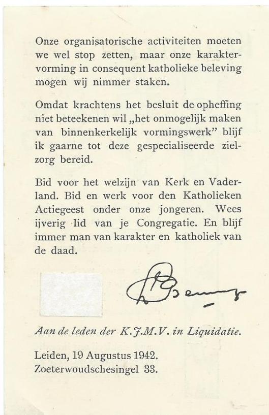 Landelijk bericht aan de leden der K.J.M.V. in liquidatie, 19 augustus 1942.