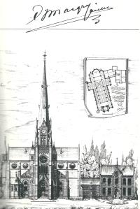 Ontwerptekening van r.k. Bavo-kerk en pastorie door architect E.J.Margry