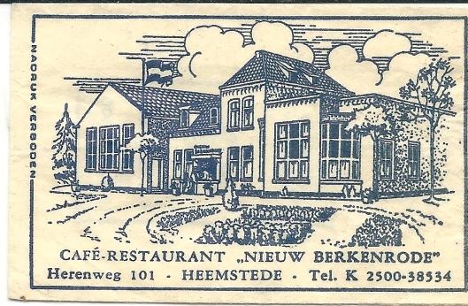 Suikerzakje van café-restaurant 'Nieuw Berkenrode'