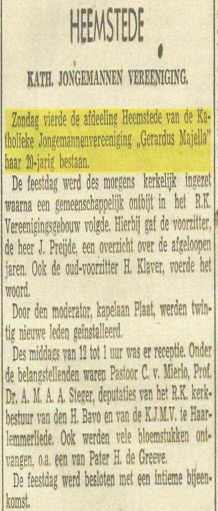 Bericht uit de Oprechte Haarlemse Courant van 1942