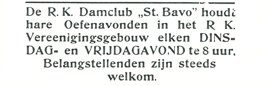 Advertentie van r.k.damclub Sint Bavo uit 1927