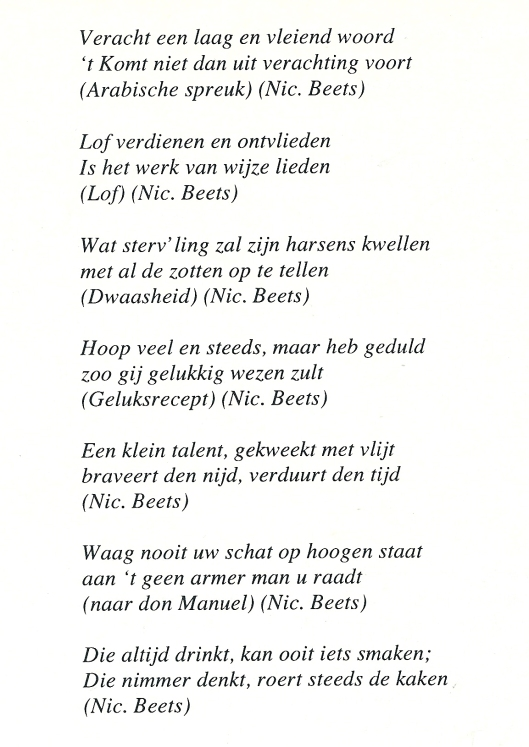 Vervolg teksten van Nicolaas Beets