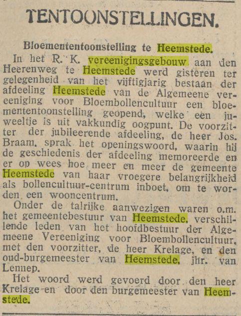 Ook in 1920 had een Bloemententoonstelling plaats. Bericht uit: De Tijd van 25 januari 1929