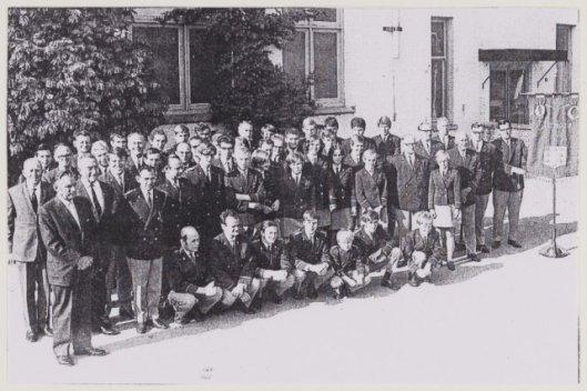 Harmonie St.Michaël bij het 60-jarig bestaan voor het Verenigingsgebouw in 1969