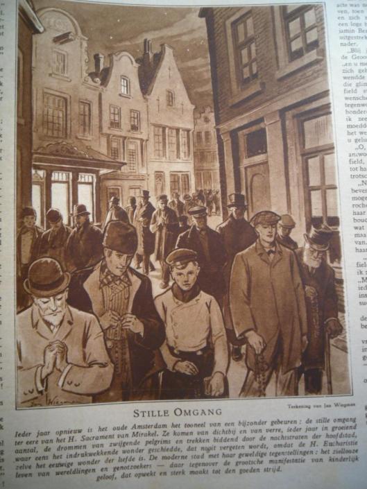 Getekende illustratie van de Stille Omgang, door Jan Wiegman die deze zelf in Amsterdam dat jaar meeliep. Uit de katholieke illustratie van 14 maart 1928
