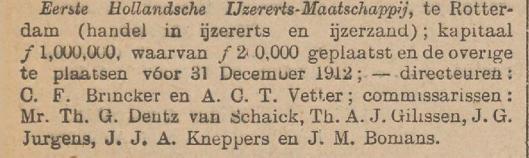 J.M.Bomans was ook commissaris van de Eerste Hollandsche IJzererts Maatschappij (Het Nieuws van den Dag, 15-12-1912)