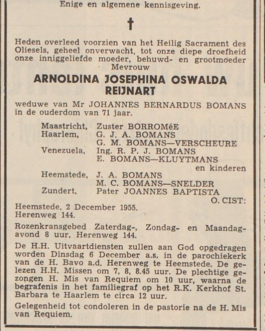 Overlijdensadvertentie van Arnoldina Josephina Oswalda Reijnart, weduwe van mr.J.B.Bomans. Haarlems Dagblad, 3-12-1955