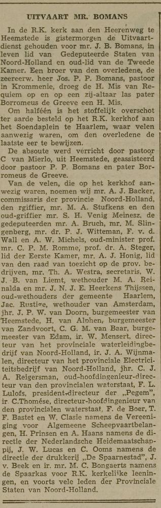 """Uitvaart mr.J.B.Bomans. Ui"""": Leidsche Courant van 25-3-1941"""