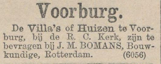 J.M.Bomans als bouwkundige en makelaar. Uit: Nieuws van den Dag, 19-4-1894