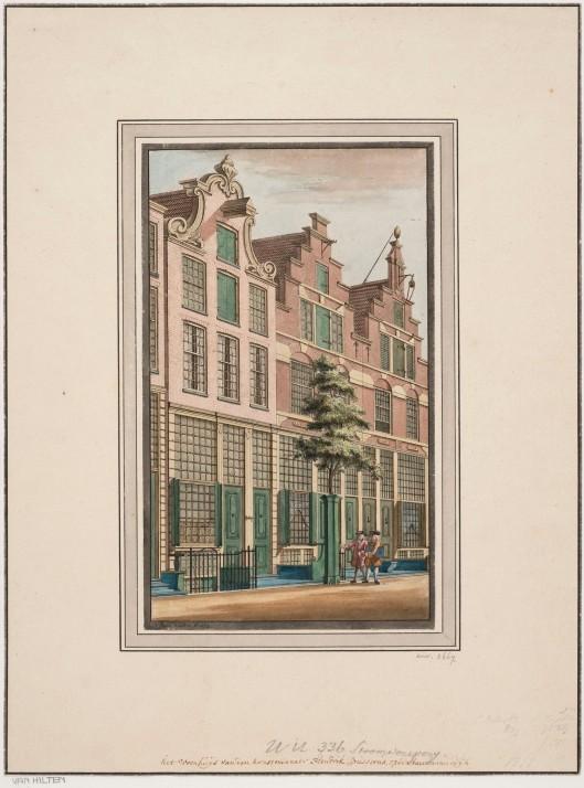 Ingekleurde gravure door Hendrik van Hilten uit 1773 van het woonhuis van de rijke kunstverzamelaar Hendrik Busserus (Universiteitsbibliotheel Leiden)