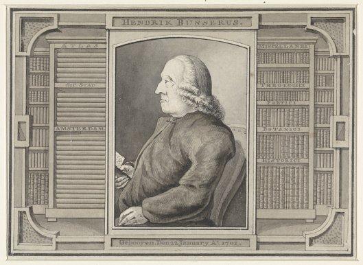 Portret van Hendrik Busserus tussen zijn boekenkasten. (Vermoedelijk vervaardigd door Julius Henricus Quinckhard) (Rijksprentenkabinet Amsterdam)